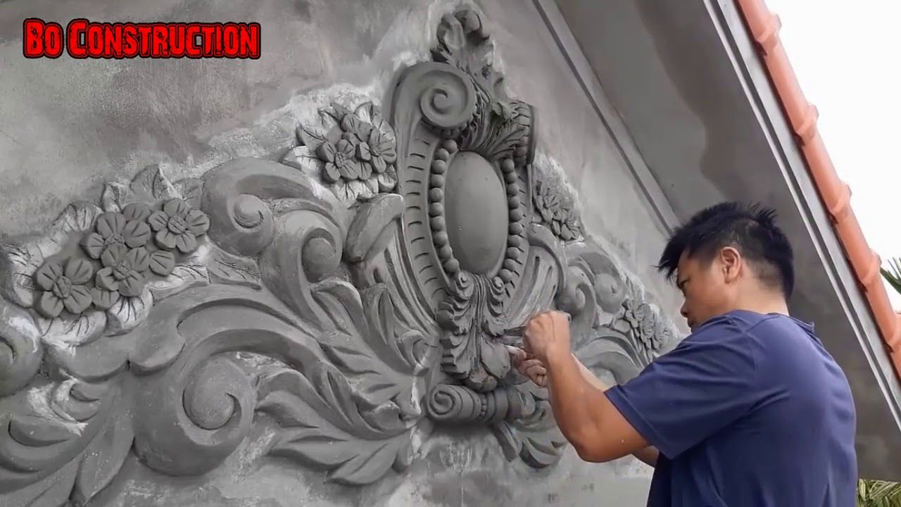 Decor front wall with floral cement art cement plaster carving cement art carving designs