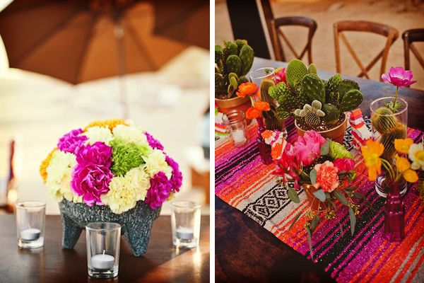 Diez ideas para una boda mexicana wedding and big party for Arreglos de mesa para boda en jardin