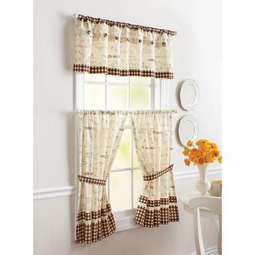 Coffee Bean French Bistro Cafe Kitchen Valance Or Tiers Window Curtains Kitchen Window Coverings Cafe Window Cafe Themed Kitchen