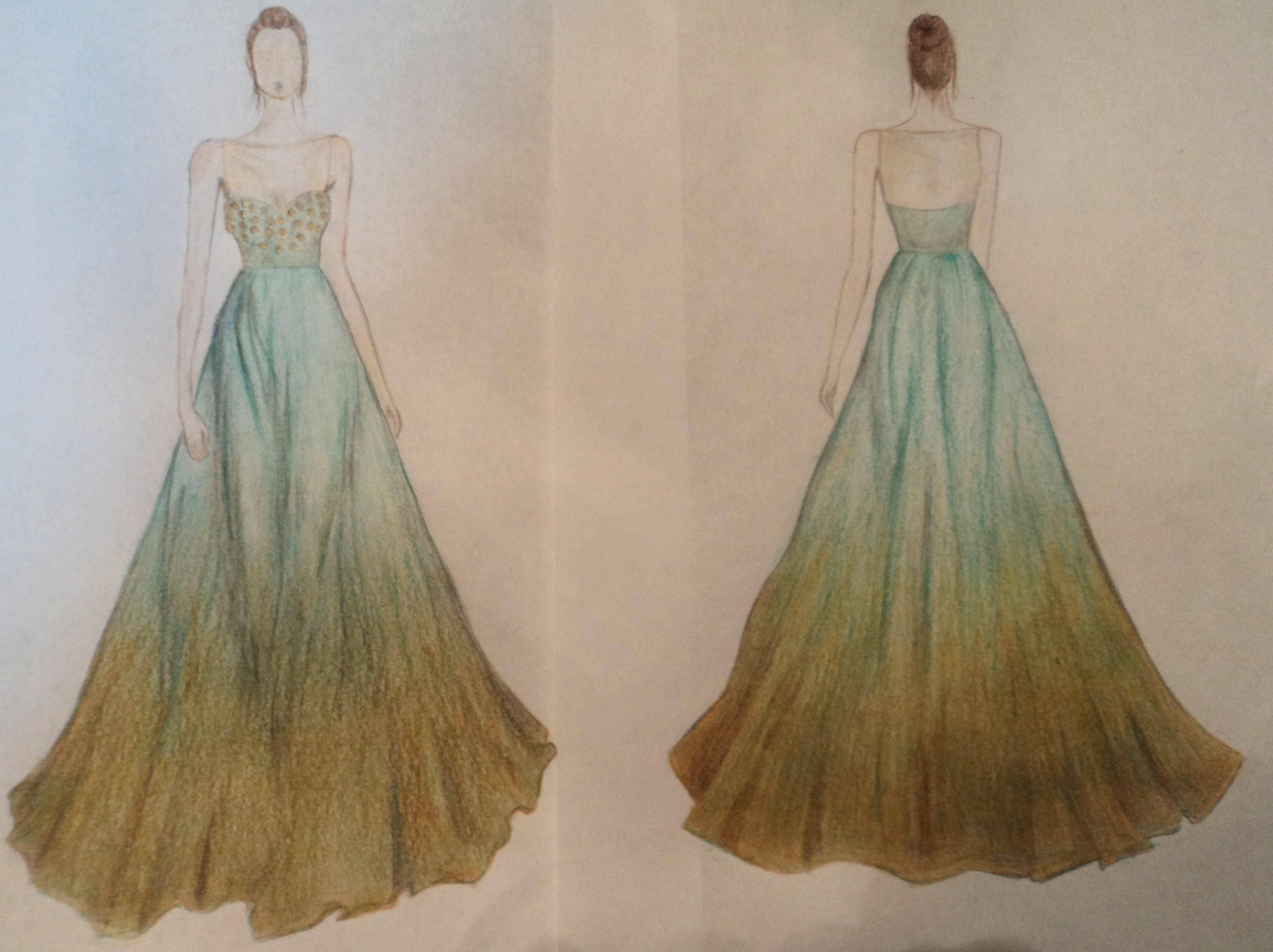 Images of sketched dresses for prom