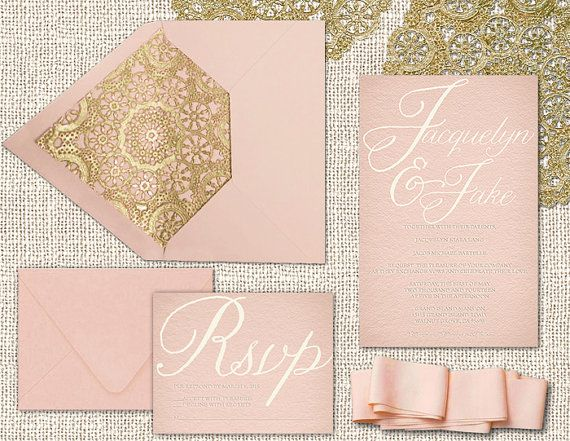 pink and gold wedding invitations with gold doilies and rsvp cards, Wedding invitations