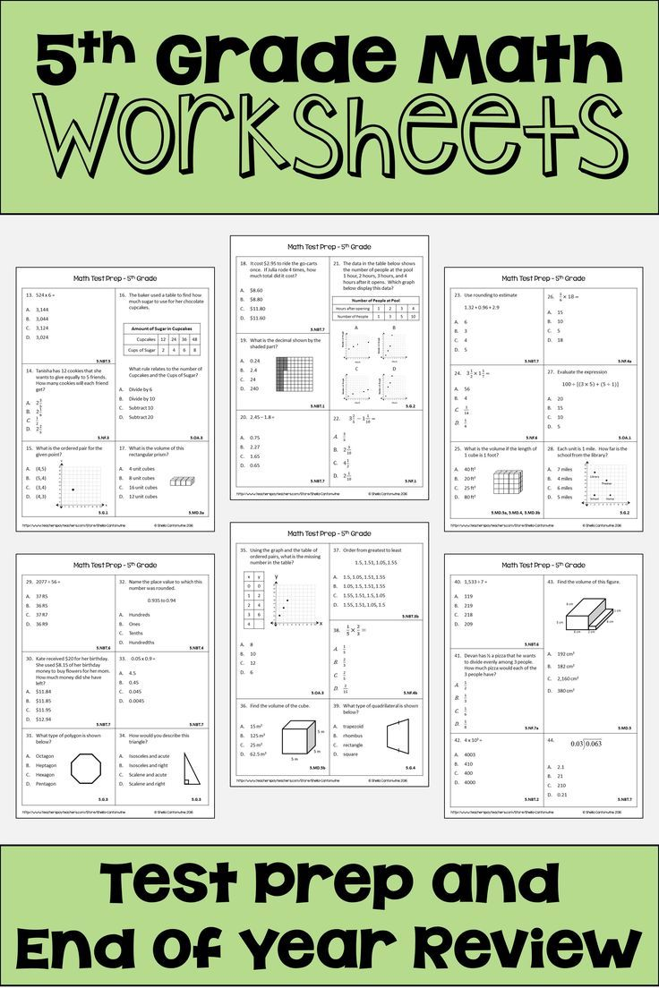 Math Test Prep and Review for 5th Grade | Math worksheets, Common ...