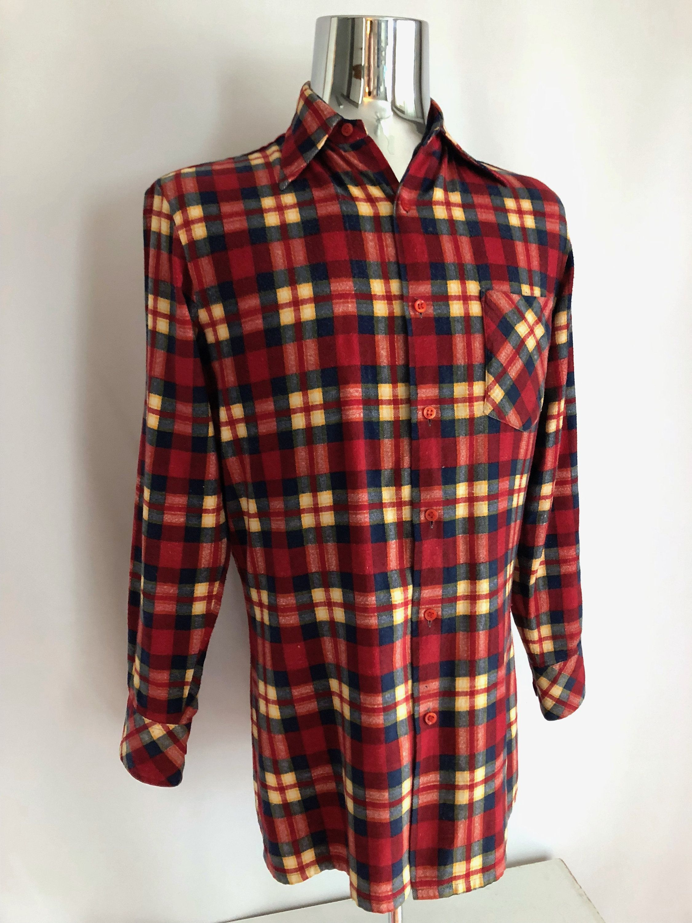 Red plaid flannel jacket  Vintage Menus us Plaid Flannel Shirt Red Button Down by