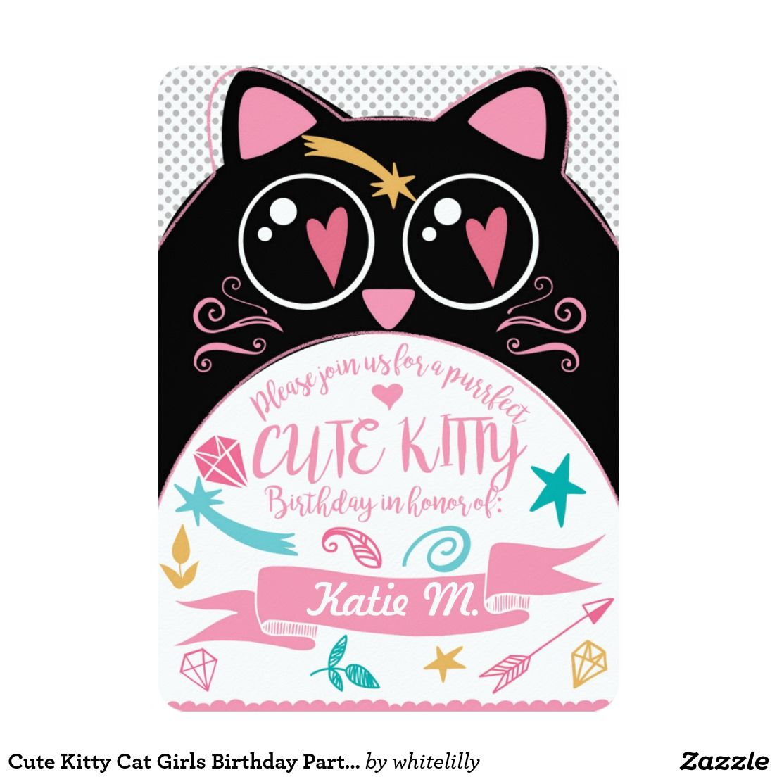 Cute Kitty Cat Girls Birthday Party Invite Kawaii – Cat Party Invitations