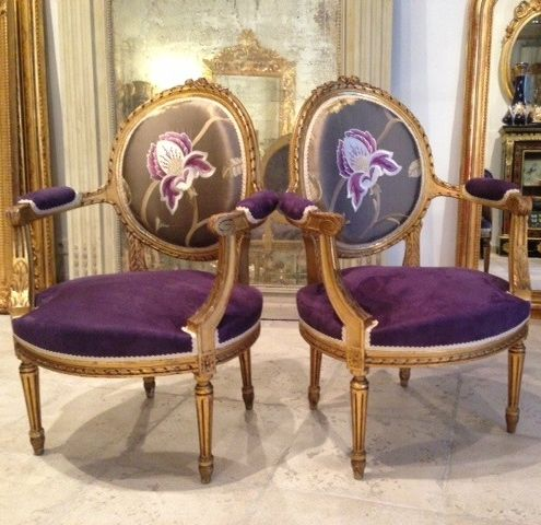 Beautiful Pair Of Gilded Medallion Armchairs Louisxvi Style