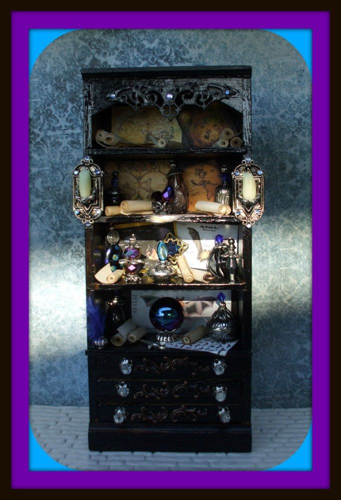 Gothic Witch Wizard Halloween Dollhouse Miniatures Cabinet