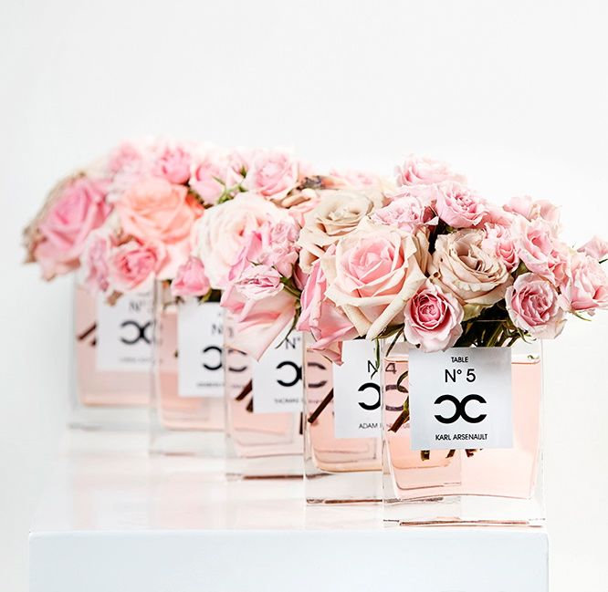 Coco Chanel Inspired Centrepieces.. great idea for a bridal shower or wedding!
