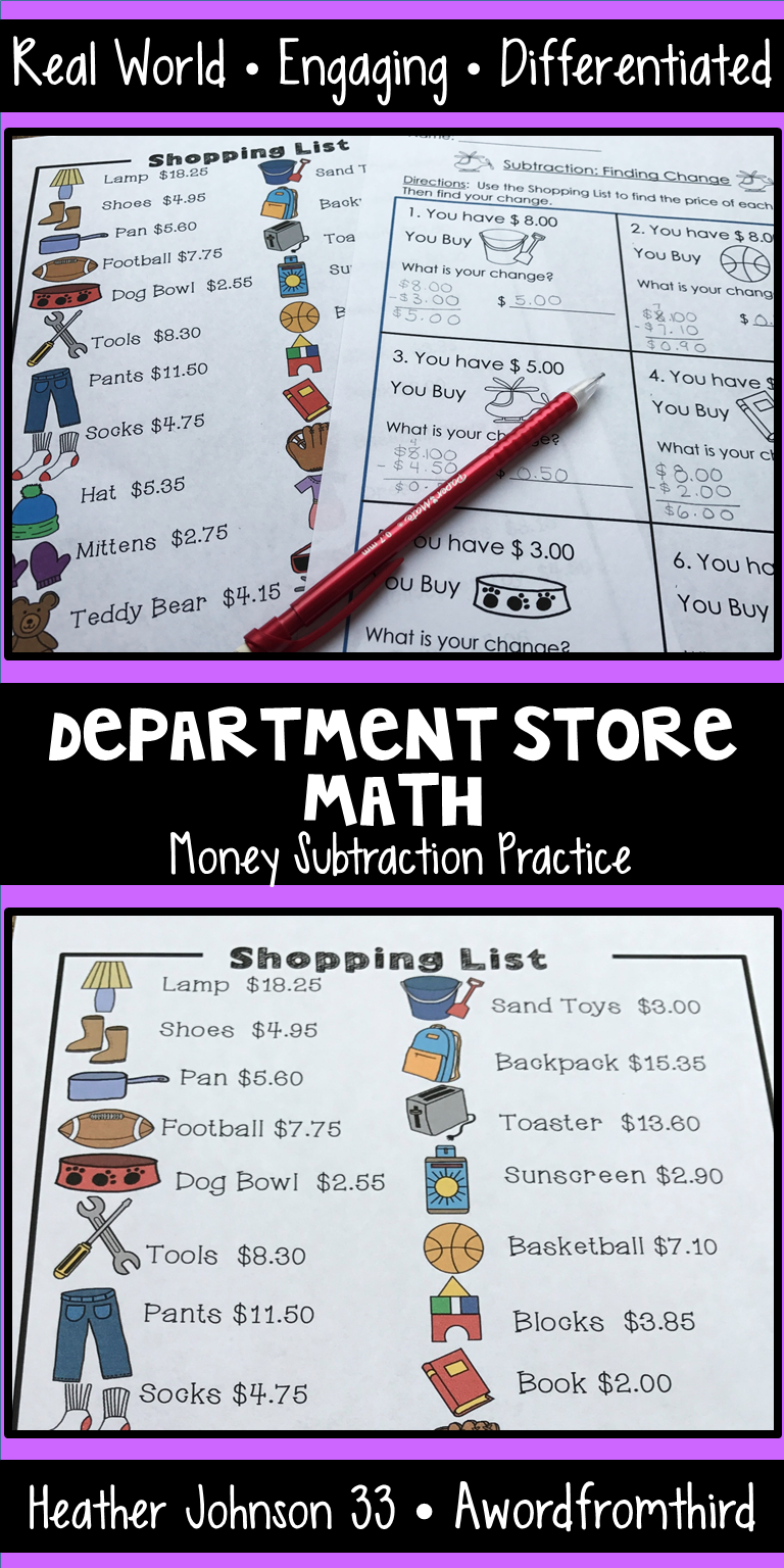 Shopping Math Subtraction: Money: Real World Application: Word ...