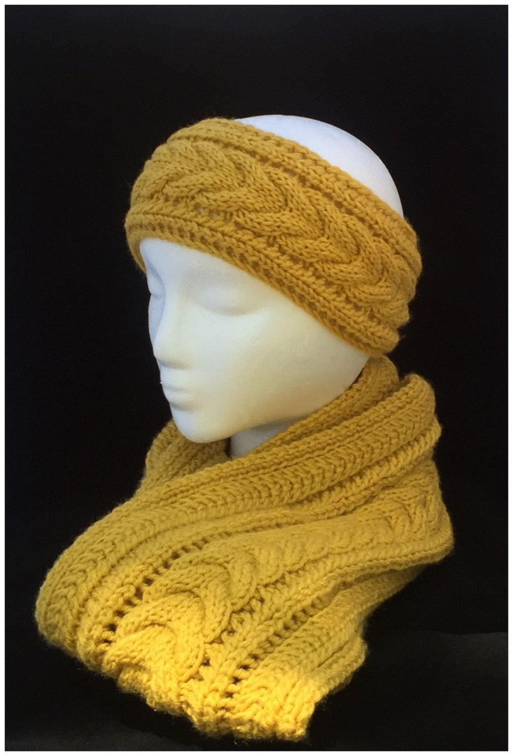 Yellow knit ear warmer cable knit headband handknit ear warmer yellow knit ear warmer cable knit headband handknit ear warmer handmade headband boho headband knitted earwarmer winter knit headband dt1010fo