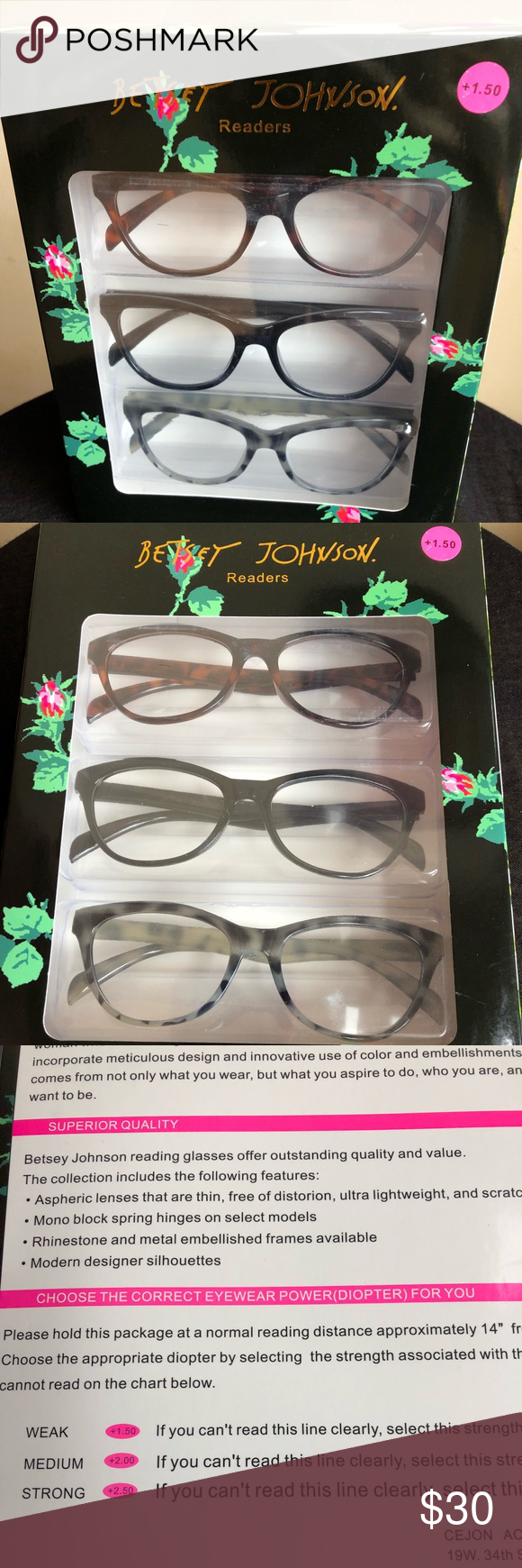 81fb2c48a691 Betsey Johnson 3 Pack Readers Glasses Betsey Johnson 3 pack readers glasses  Perfect for reading in style! Will match any outfit. Very chic set of 3  reading ...