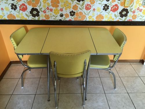 mid century modern yellow formica kitchen table with - Formica Kitchen Table