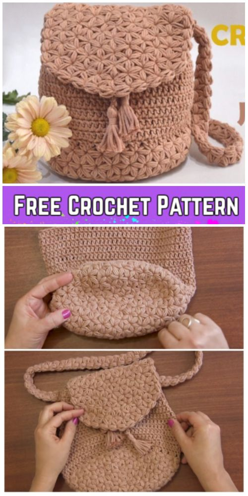 Jasmine Stitch Backpack Free Crochet Pattern Video Tutorial #spanishthings