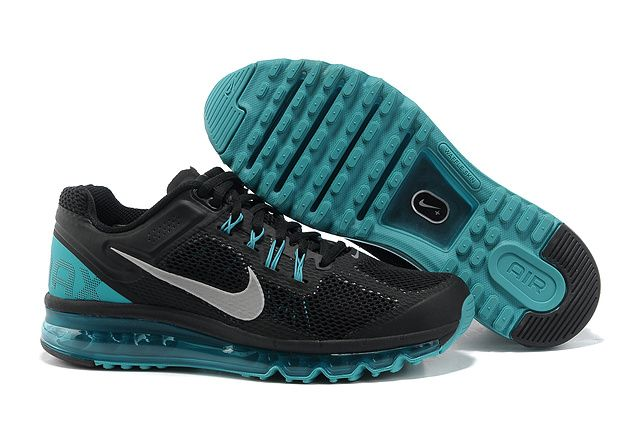 com cheap nike shoes Nike Air Max 2013 Black Blue Glow Silver Men's Shoes