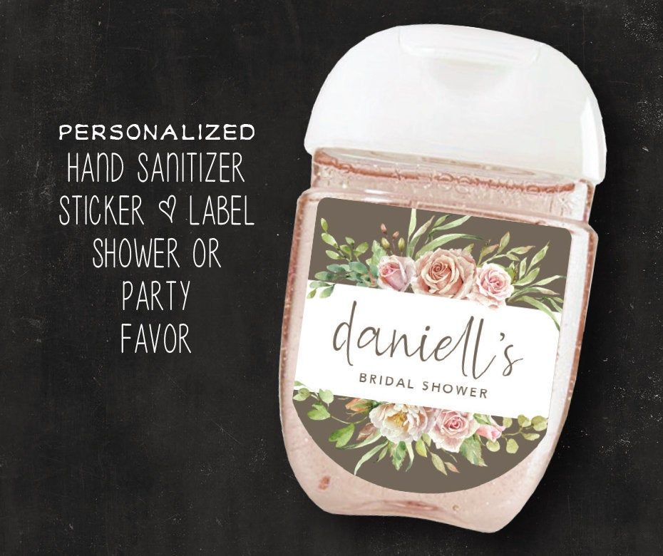 30 Personalized Labels Floral Hand Sanitizer Label Blush Pink