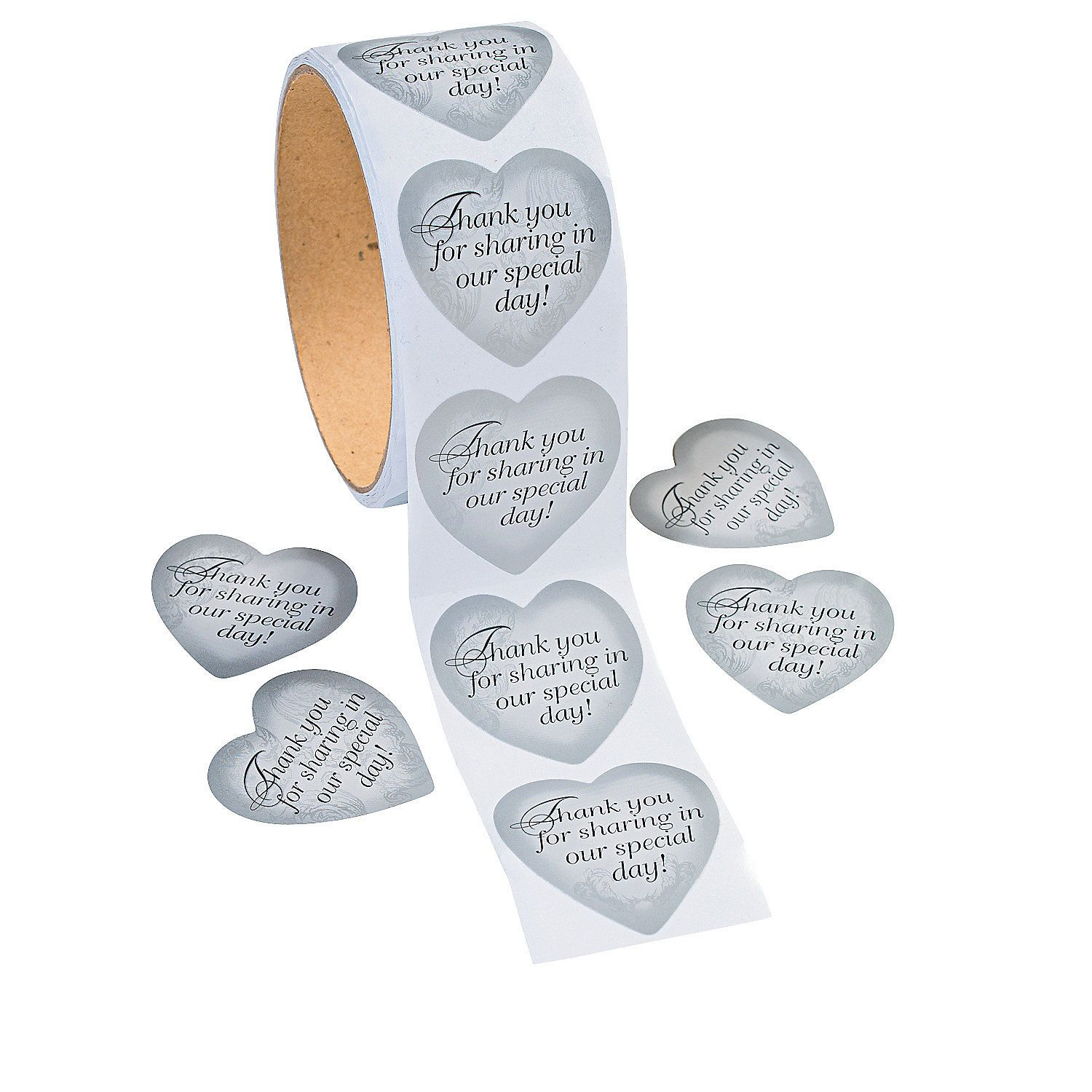 Silver Heart Thank You Stickers | Favors, Wedding and Reception