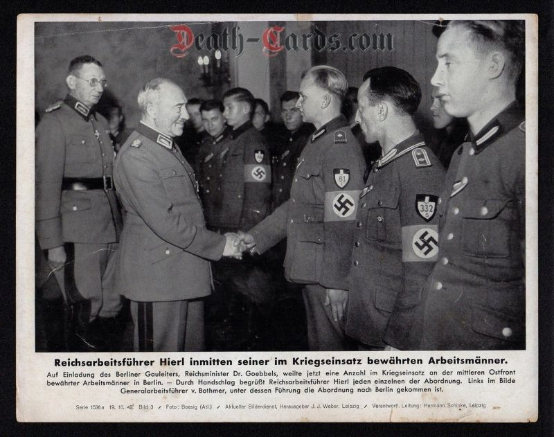 orig. WWII Press Photo - Reichsarbeitsfuehrer Hierl - R.A.D. Soldiers - Date of publication: Oct. 19, 1942