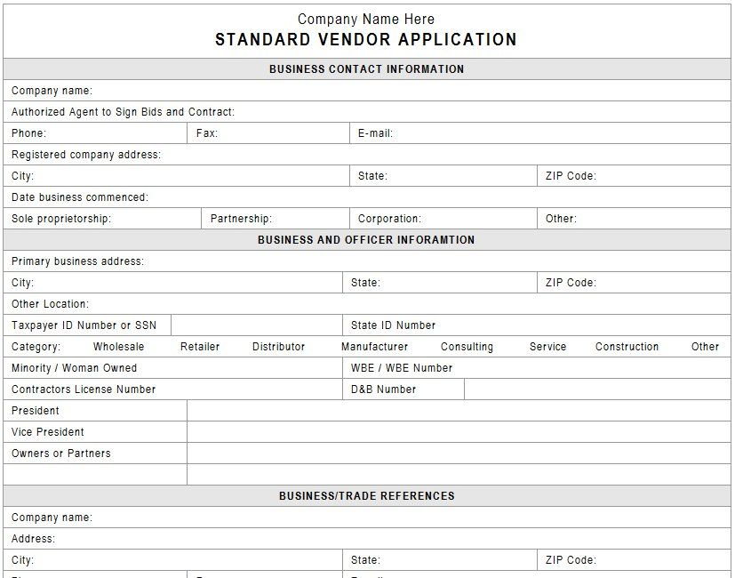 vendor application template free
