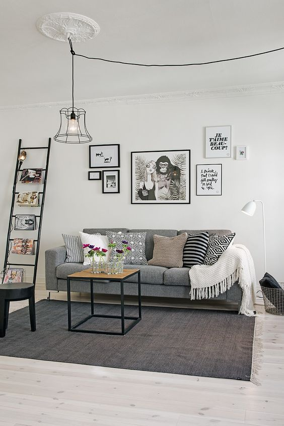 Hanglamp aan plafond verplaatsen | Grey living rooms, Living rooms ...