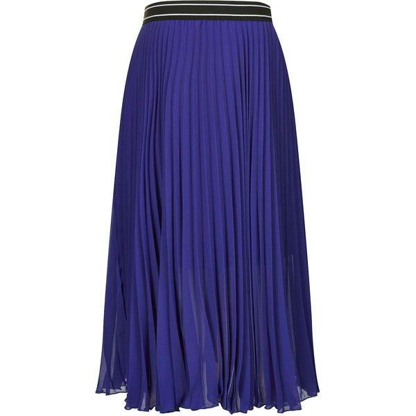 TOPSHOP Maternity Sport Waistband Pleated Midi Skirt ($9.91) ❤ liked on Polyvore featuring skirts, maternity, topshop and blue