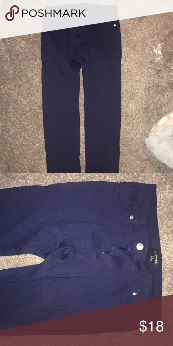 a0ae552a4b6f8d Jeggings I believe these are Juniors Navy blue jeggings Shinestar Pants  Leggings