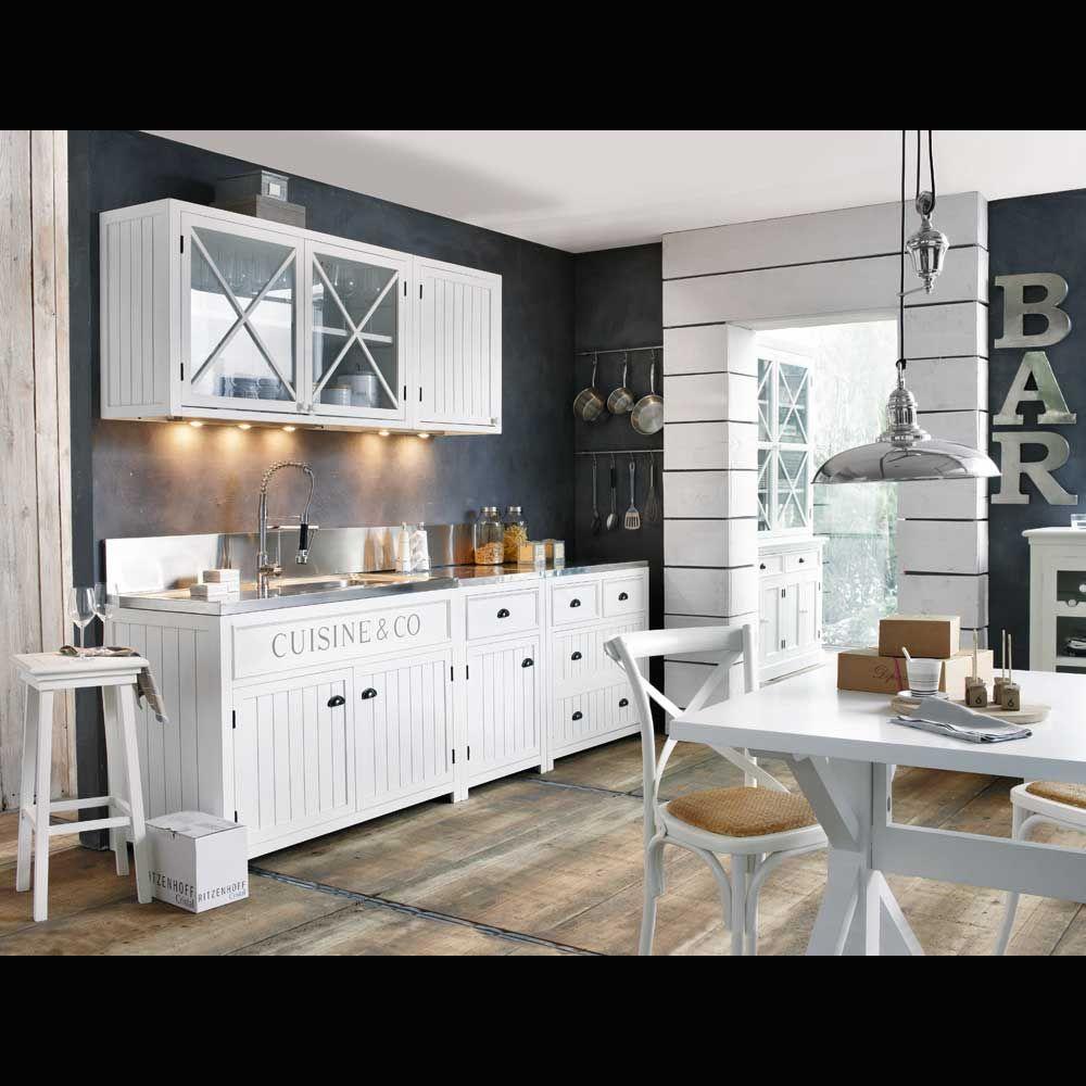 meuble haut vitre de cuisine en bois blanc l 120 cm newport