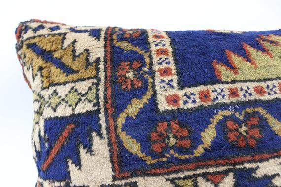 Turkish Rug Pillow, 16x24 Natural Pillow, Covers Pillow, Blue Pillow, Vintage Pillow, Embroidered Pi