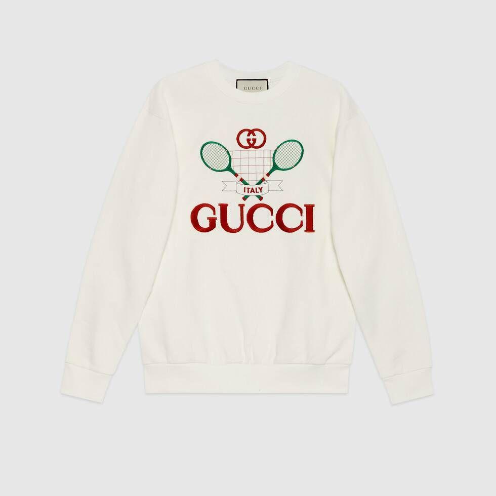 Shop The Oversize Sweatshirt With Gucci Tennis At Gucci Com Enjoy Free Shipping And Complimentary Gift Wrap Sweatshirts Sweatshirts Women Designer Sweatshirts [ 980 x 980 Pixel ]