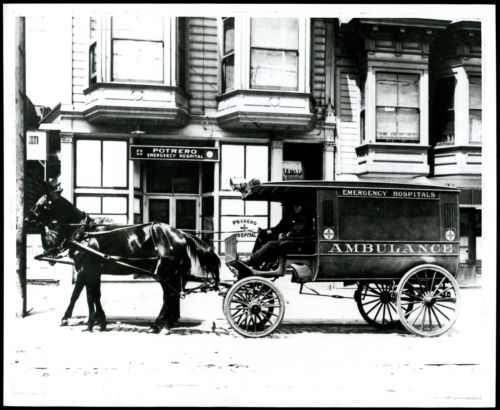 1900s Horse Drawn Ambulance Potrero Emergency Hospital Antique