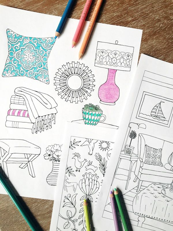 Home Decor Coloring Book | Decor interior design, Coloring books and on house sketch, house drawing, house letters book, house coloring worksheet, house coloring paper,