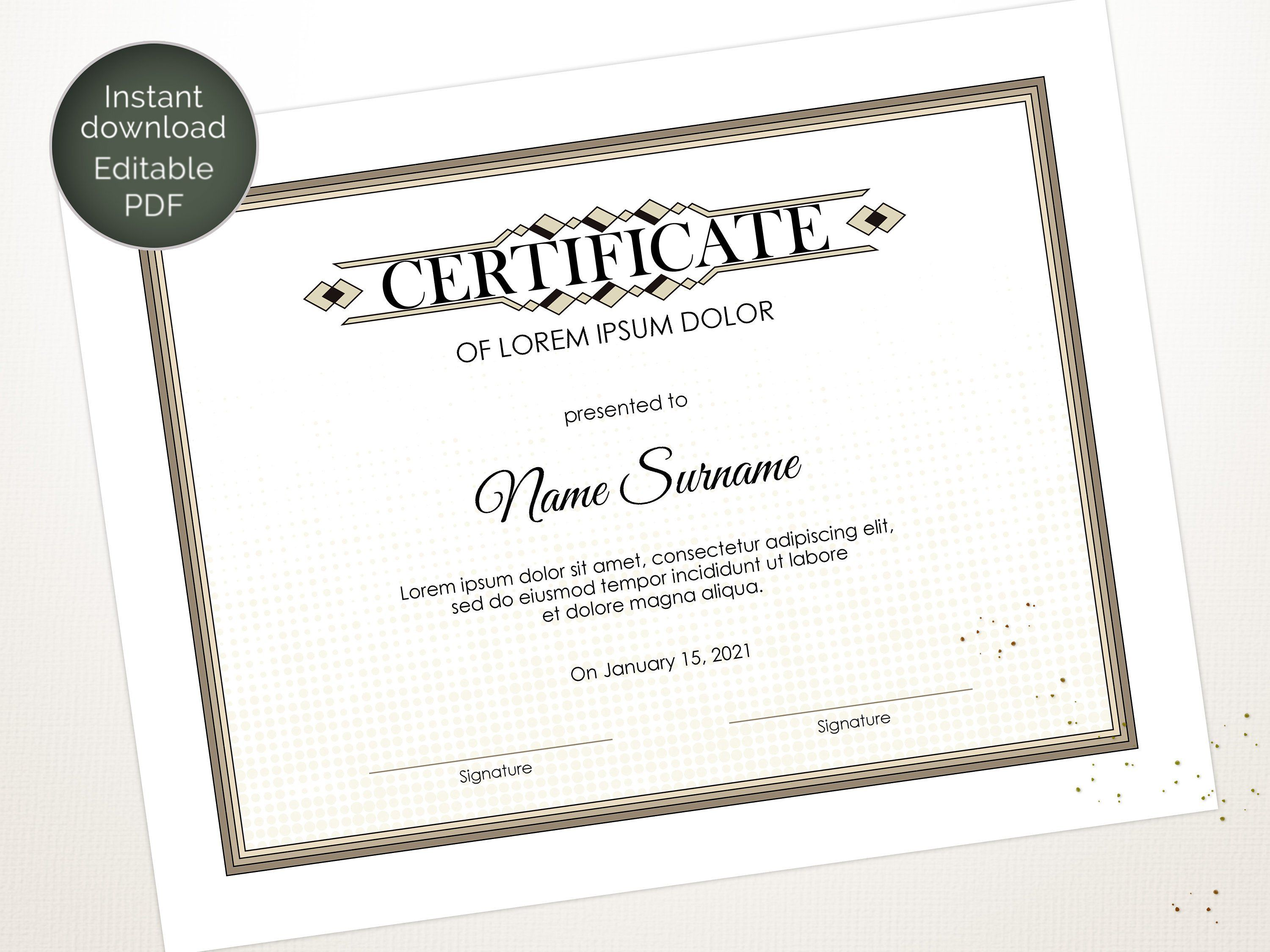Editable Certificate Template Blank Business Certificate