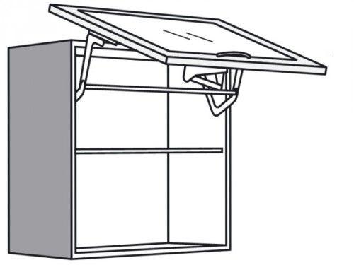 Hängeschrank mit Glas Lifttür Glasbodenleuchte in Alu