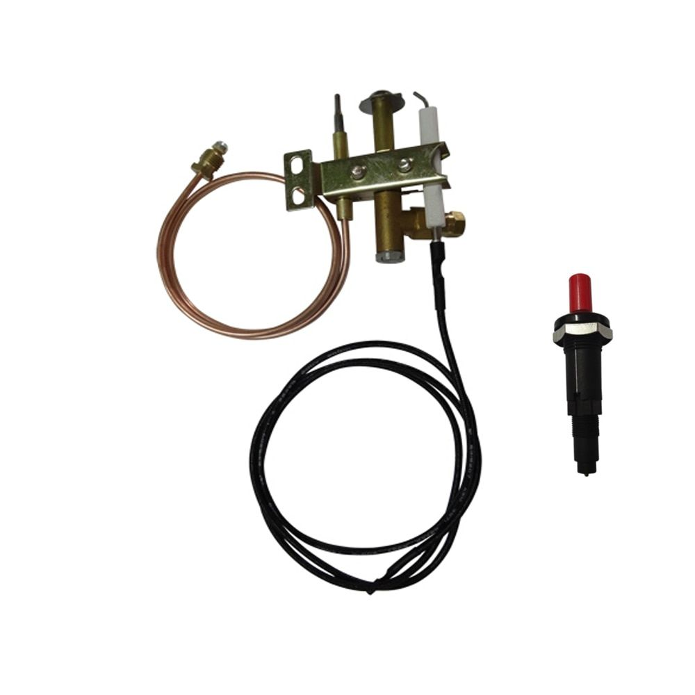 Mensi Commercial Gas Range Stove Spare Parts Fryer Pilot Burner Flame Sensor Three Flame Head Assembly With Ignit Water Heater Parts Gas Water Heater Gas Range