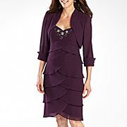 S.L. Fashions 2-Pc Bolero Jacket Dress With Tired Skirt