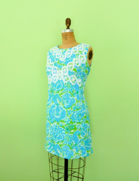 1172b60d048892 Vintage Lilly Pulitzer dress. Lovely vintage 60s bright blue and green  floral ...