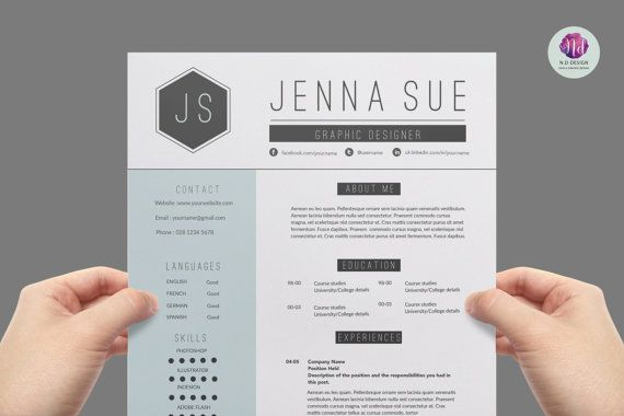 Modern Chic Resume Package  Page Cv Template  Cover Letter