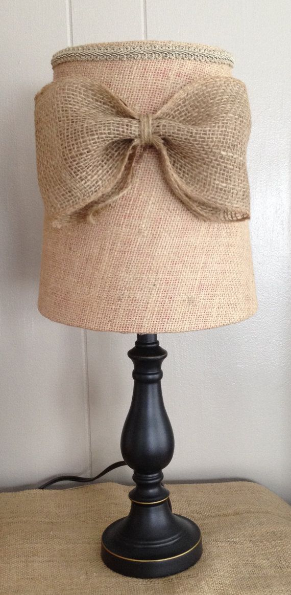 burlap lamp shade with kao or monogram written in bluecoral paint
