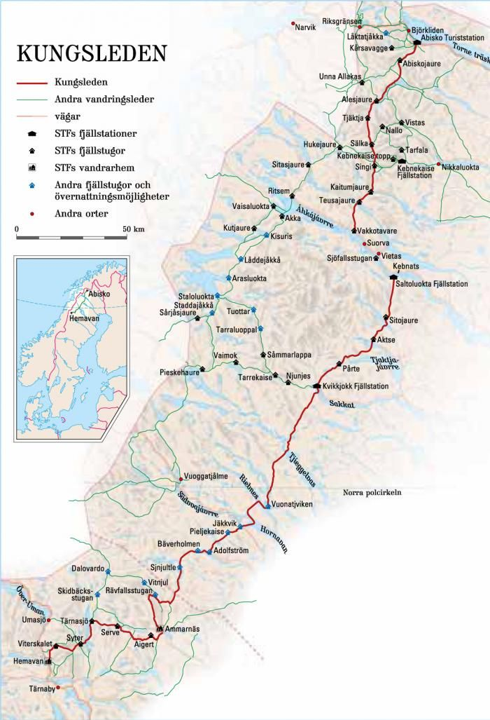 Map Of The 270 Miles Of Kungsleden Source Stf Scandinavia In