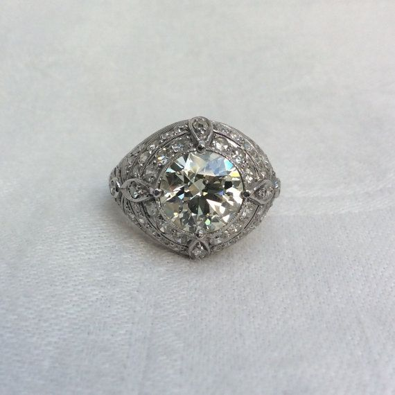 2.30 carat Vintage Diamond Art Deco Engagement by RiordanStudio