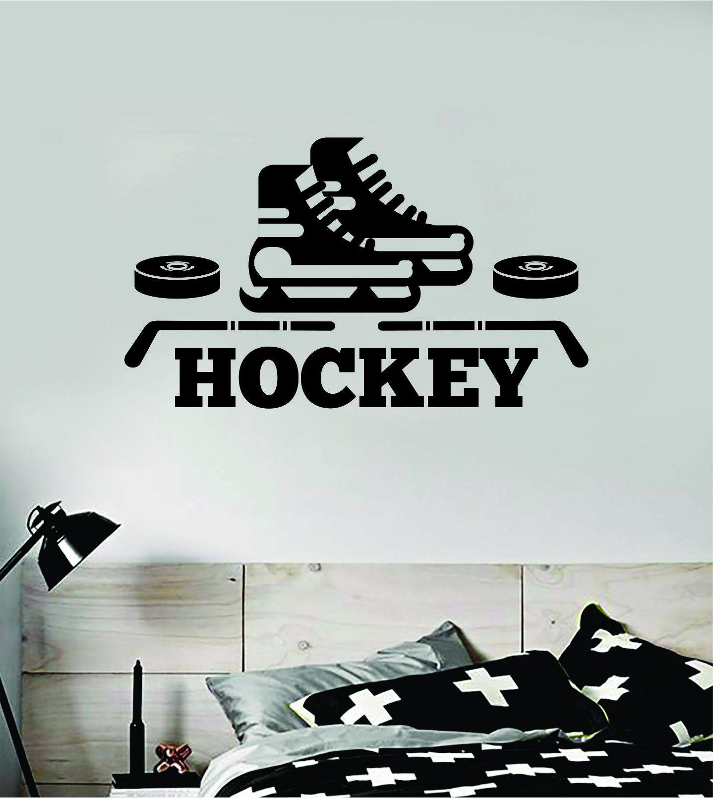 Hockey Wall Decal Sticker Vinyl Art Bedroom Room Home Decor Quote Kids Teen Baby Boy Girl Nursery Ice Skate Puck Stick NHL Winter - saphire blue