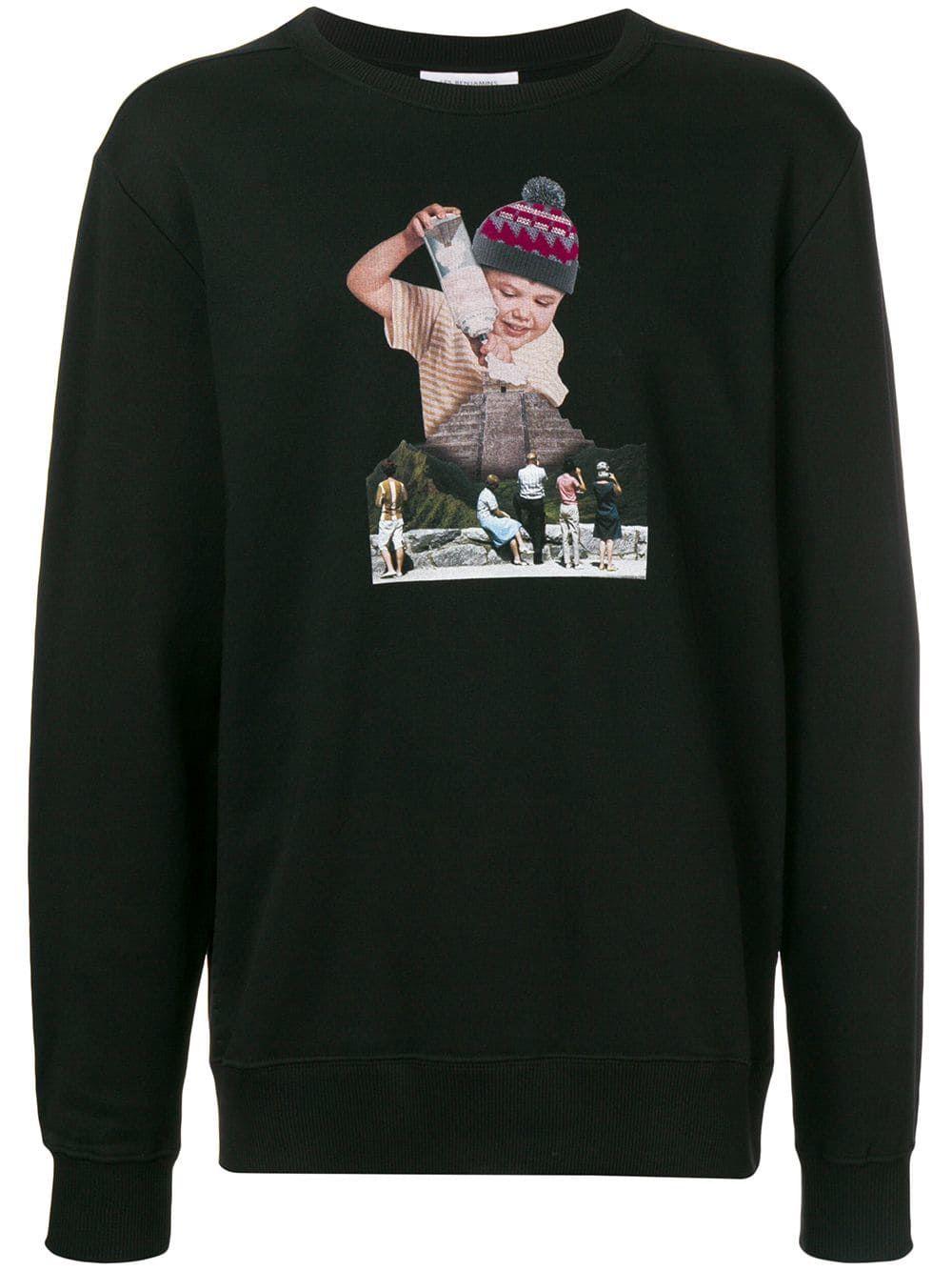 lesbenjamins Les Black Collage Print cloth Benjamins Sweatshirt wAR0v