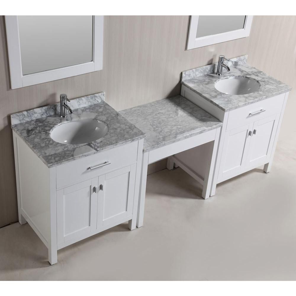 Design Element Two London 30 In W X 22 In D Vanity In White With Marble Vanity Top In Carrara White Mirror An Bathroom Vanity Marble Vanity Tops Vanity Sink