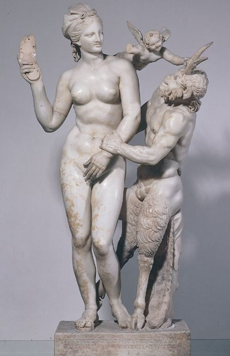 Sculpture of Aphrodite, Eros, and Pan from Delos Island, Hellenistic period, 100 B.C.