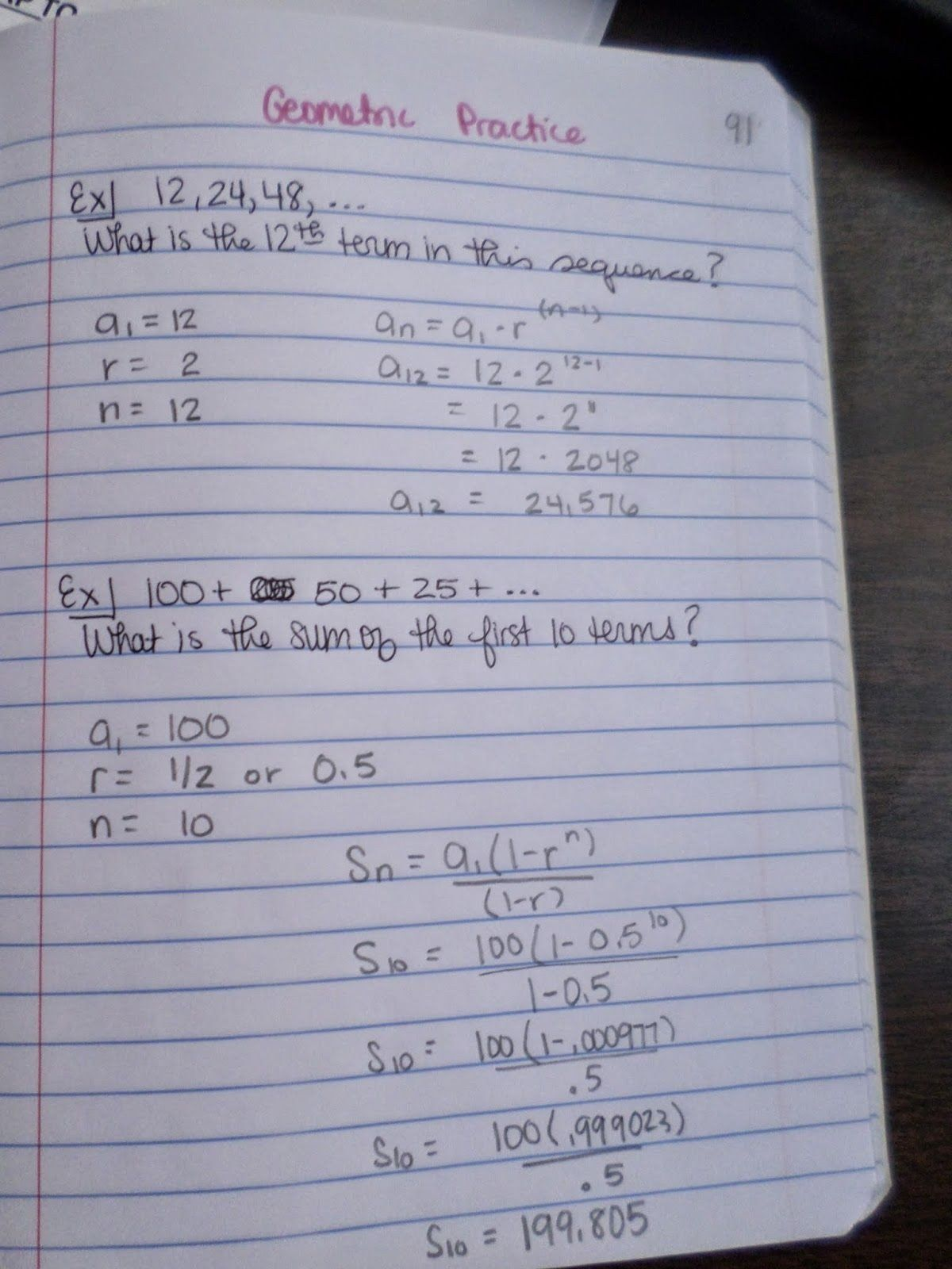 Geometric Sequences Worksheet Answers Sequences And Series