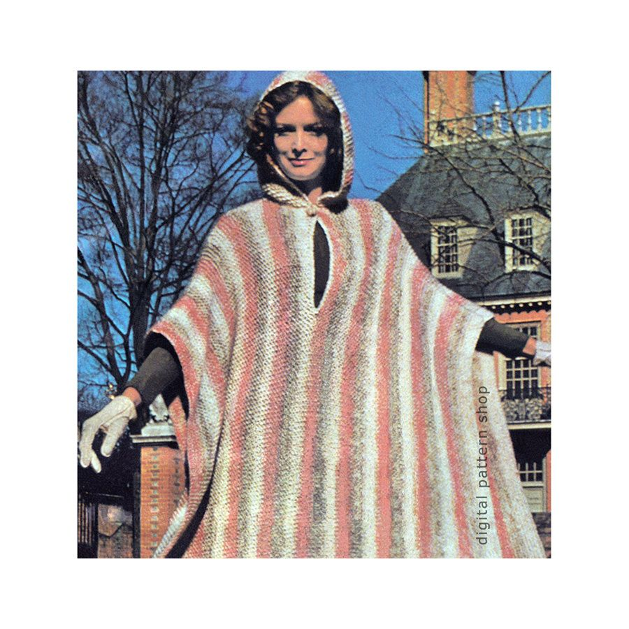 Knit Poncho Pattern Vintage Hooded Poncho Knitting Pattern Womens ...