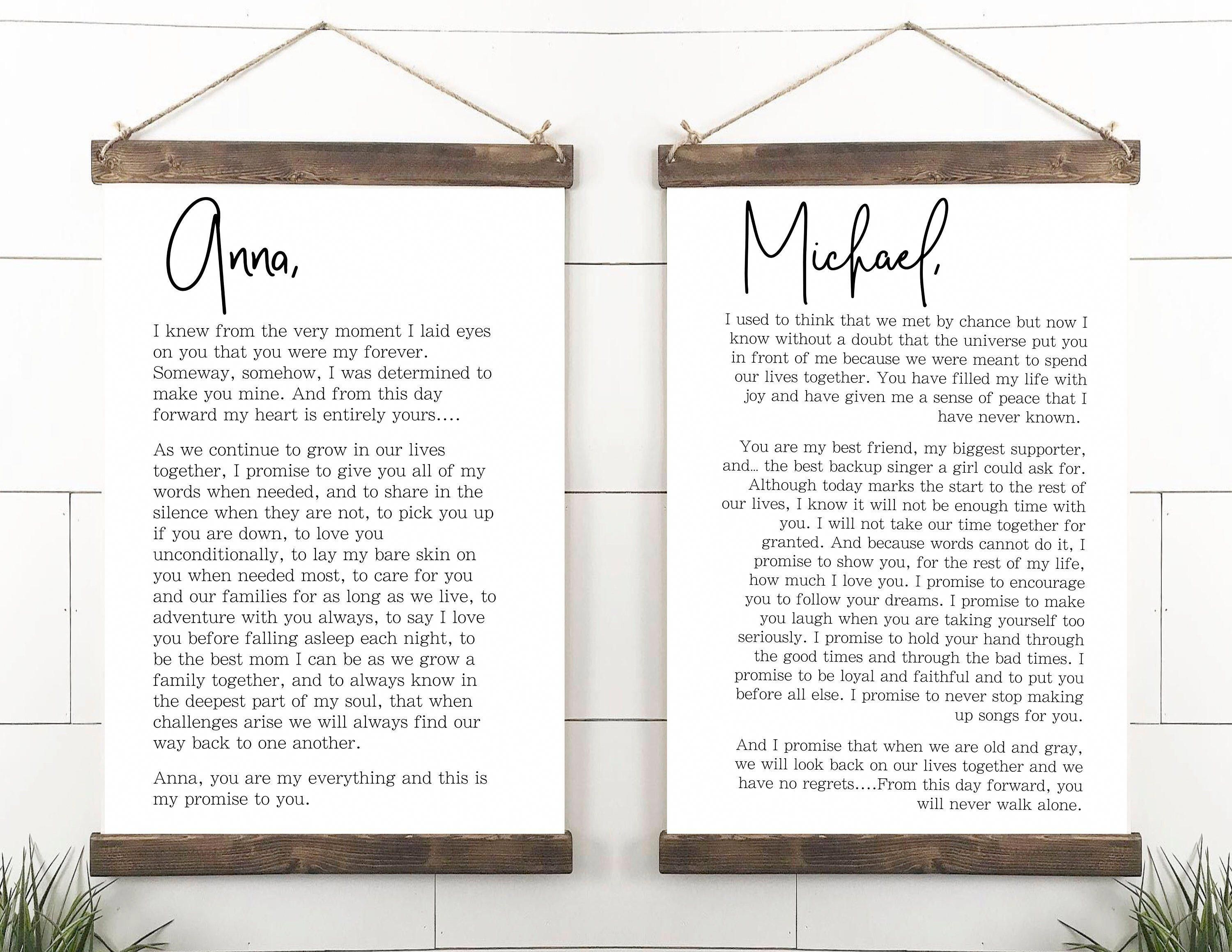 Excited To Share This Item From My Etsy Shop Wedding Vows Sign His And Her Customized Vows Weddi Master Bedrooms Decor Wall Art Master Wall Decor Bedroom