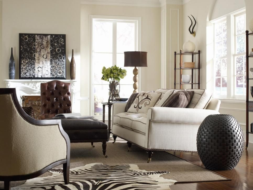 Wild, Yet Sophisticated, This Animal Themed Transitional Living Room  Features Beige Walls,