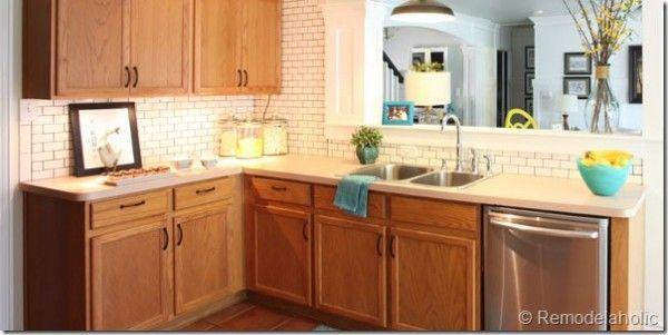 Remodelaholic 25 Great Kitchen Backsplash Ideas Oak Kitchen Kitchen Remodel Oak Kitchen Cabinets