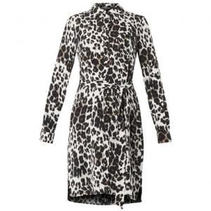 60% off Diane Von Furstenberg - Long Sleeve Dress Prita Animal Print Black White - $195.00