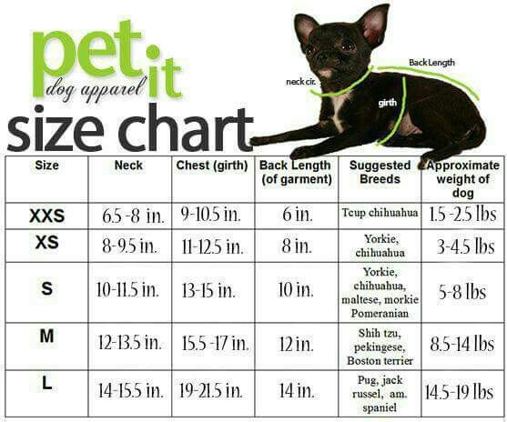 Pet Size Chart Dog Coat Pattern Crochet Dog Clothes Dog