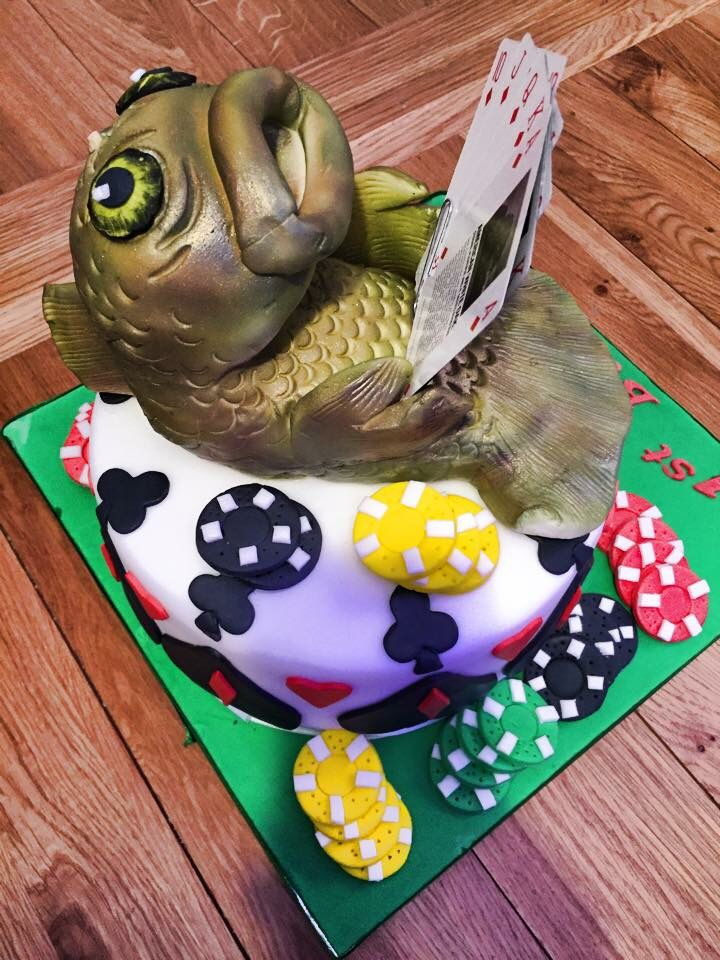 Poker Playing Carp Fish Birthday Cake Teri Arpino Pinterest